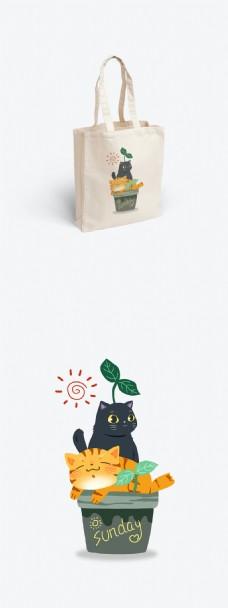 帆布袋设计包装猫咪花盆萌植物盆栽可爱阳光