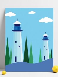手绘海上唯美灯塔背景