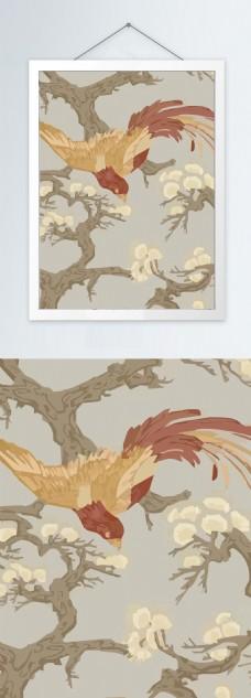 新中式花鸟彩色装饰画