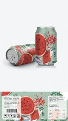 绿色清新西瓜汁水果味汽水饮料易拉罐
