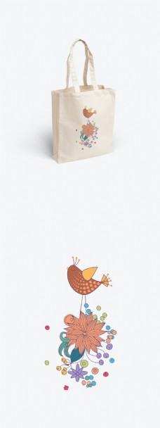 小清新矢量图小鸟与花的帆布袋设计