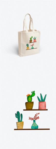 帆布袋包装之简约小清新手绘水彩风格之绿植