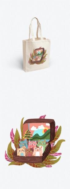帆布袋包装树叶猫咪简约清新行李箱旅行图案