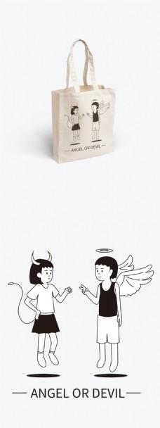 极简矢量插画天使和恶魔
