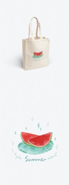 西瓜夏日清凉小清新手绘插画帆布袋设计