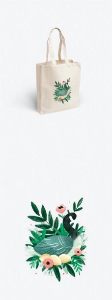 小清新花草帆布袋包装设计