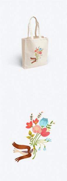 小清新小鸟与花的帆布袋设计