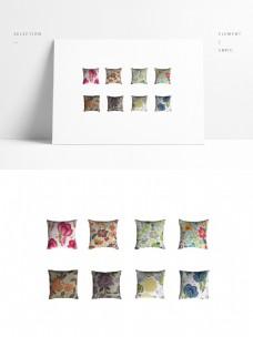 一组花朵抱枕模型