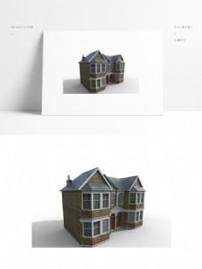 现代别墅建筑模型png白底图