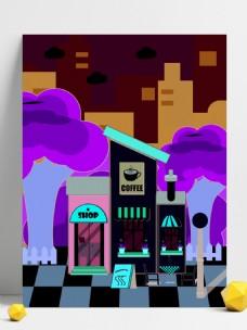 浅色时尚卡通咖啡屋背景