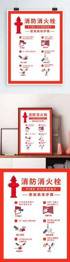 简约版消防消火栓使用步骤海报