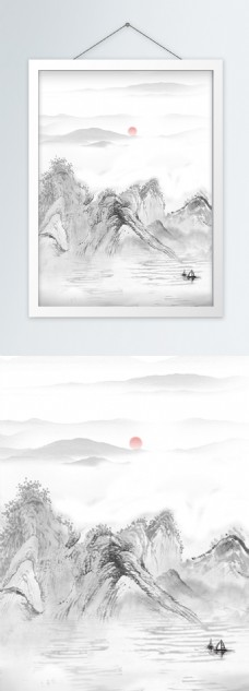 93山水水墨画竖版装饰画