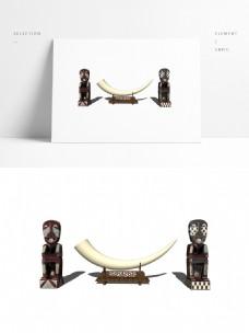 一组南非象牙装饰摆件