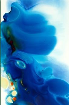 蓝色水彩效果装饰画