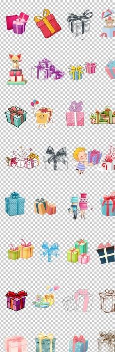 礼品手绘卡通心爱礼品盒堆起来的