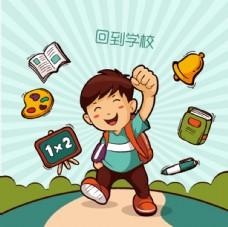 卡通小男孩背着书包去上学背景图