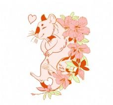 老鼠花卉图案设计