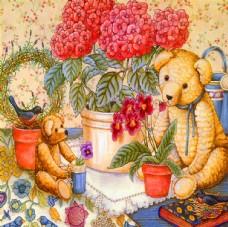 手绘卡通狗熊油画