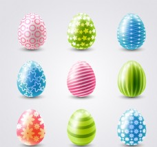 9款彩色立体花纹彩蛋矢量素材